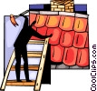 Man repairing roof Vector Clipart graphic