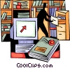 Office worker going through filing cabinet Vector Clip Art graphic