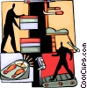 Person working out on treadmill at the gym Vector Clipart graphic