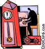 Person repairing grandfather clock Vector Clipart illustration