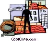 Chimney Sweep on roof with tools Vector Clipart image