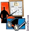 Vector Clip Art image  of a Doctor standing by eye chart