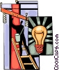 Hydro worker on ladder fixing connection and light bulb Vector Clip Art graphic