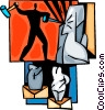 Vector Clipart graphic  of a Sculpture with hammer and