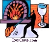 Glass Blower molding glass Vector Clipart picture