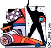 Vector Clipart graphic  of a Race car driver with checkered flag