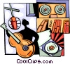 Person recording cd with acoustic guitar Vector Clipart illustration