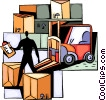 Stock room worker with crates and forklift Vector Clipart illustration
