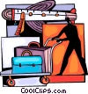 Airline Passenger with luggage on a cart Vector Clipart illustration