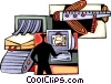 Airport security scanning luggage Vector Clipart image