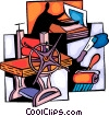 Man working the Printer press Vector Clip Art graphic