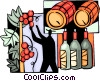 Wine Barrels, wine bottles and man picking grapes Vector Clipart image