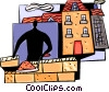 Vector Clip Art graphic  of a Brick Layers