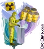 Person in Toxic Chemical suit handling hazardous waste Vector Clip Art picture