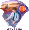Ground control maneuvering mars explorer Vector Clipart illustration