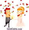 Vector Clip Art graphic  of a Bride and groom with roses