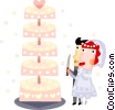Bride and groom cutting the wedding cake Vector Clipart illustration
