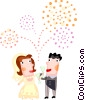 Bride and groom having champagne Vector Clip Art graphic