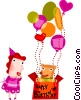 Vector Clipart graphic  of a Birthday Party celebrants with