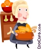 Vector Clip Art graphic  of a Pioneer woman serving dinner