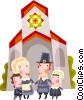 Vector Clipart picture  of a Pioneer family attending