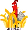 Vector Clip Art graphic  of a Turkey in the grass