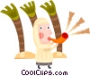 Wise man blowing horn Vector Clipart illustration