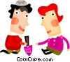 Vector Clipart graphic  of a Jewish children playing with a