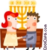 Jewish couple with menorah Vector Clipart image