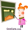 Jewish girl lighting the menorah Vector Clipart graphic