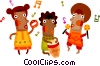 African tribe playing music, singing and dancing Vector Clip Art image