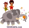 Vector Clip Art picture  of a People riding on a elephant