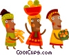 African woman bringing food to the feast Vector Clip Art image