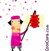 Asian person with lantern Vector Clipart illustration
