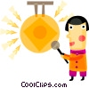 Asian man with gong Vector Clip Art picture