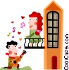 Couples and Romance Man serenading  woman on the balcony Vector Clip Art picture