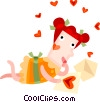 Couples and Romance Woman reading love letter Vector Clipart image