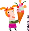 Girl with large ice cream cone Vector Clipart picture