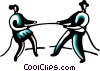 Business people having a tug of war Vector Clipart picture