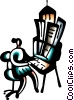 Vector Clipart graphic  of a Businesswoman at desk with