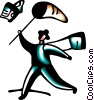 Businessman chasing contracts with net Vector Clip Art graphic
