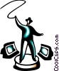 man with bull whip and computer monitors Vector Clip Art picture