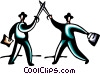 Businessmen having a sword fight Vector Clipart picture