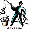 Businessman fishing for currency Vector Clipart graphic