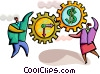 Business people with time and money gears Vector Clip Art image
