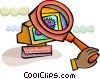 Computer Virus under magnifying glass Vector Clipart picture