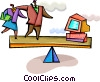 Business people balancing computer Vector Clipart illustration