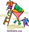 Business people with funnel and cash Vector Clipart picture