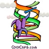 Businessman climbing DNA strand Vector Clipart picture