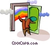 man opening door of success to rainbow Vector Clipart picture
